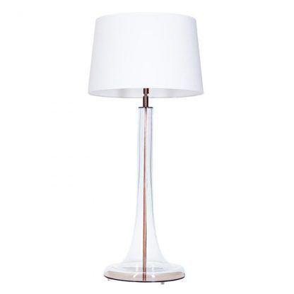 szklana smukła lampa stołowa z białym abażurem