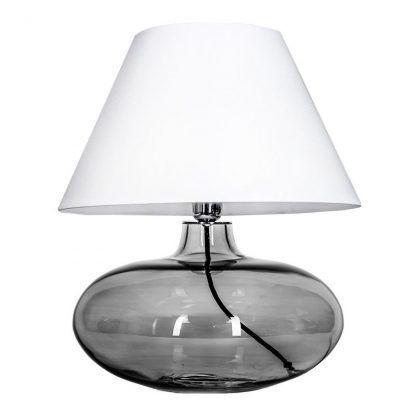 szklana szara lampa z abażurem w kształcie stożka