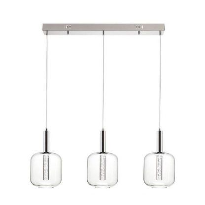 szklane klosze wiszace - lampa na 3 żarówki szynowa