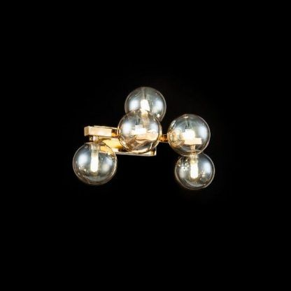 Szklane kule kinkietu do salonu złota podstawa