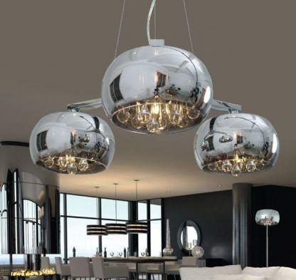 szklane lampy crystal srebrne na linkach stalowych do salonu