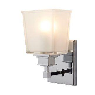 szklany chromowany kinkiet do łazienki - kwadratowy do lustra