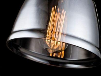 szklany kinkiet z szarym kloszem industrialny