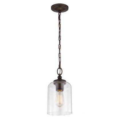 Szklany klosz lampy na brązowym zawieszeniu