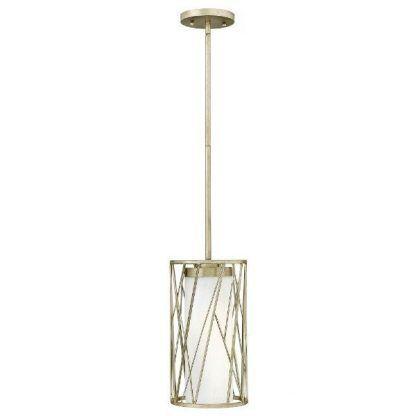 Szklany klosz lampy w metalowej oprawie salon