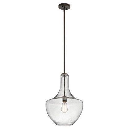 Szklany klosz lampy z brązowym mocowaniem