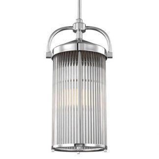 Szklany podłużny klosz w lampie ze srebrnym wykończeniem