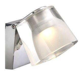 szklany srebrny kinkiet do małej łazienki