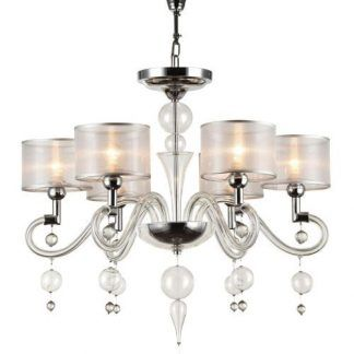 szklany żyrandol elegancki ze szkła - ramiona i kule