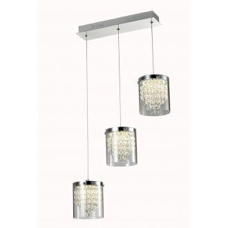 szynowa lampa wisząca z 3 kloszami glamour do salonu