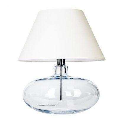 transparentna lampa stołowa z białym stożkowym abazurem