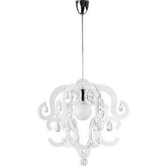 transparentna lampa wisząca z diamencikami glamour