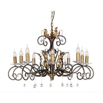 wieloramienny żyrandol do salonu z kryształami i szkłem - świeczniki