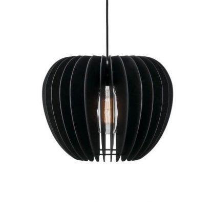 Wisząca drewniana lampa z czarnym kloszem