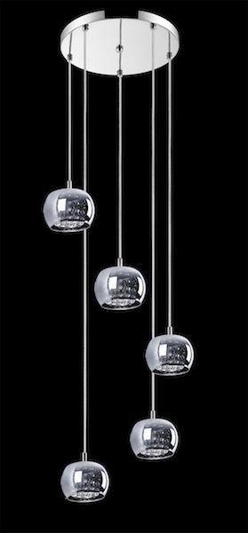 wiszące kule srebrne i szklane na czarnej ścianie - lampa