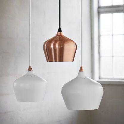 wiszące lampy cohen - białe i miedziane do sypialni