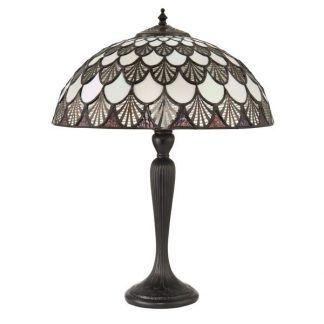 Witrażowa lampa biurkowa z półokrągłym kloszem