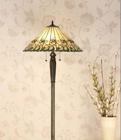 witrażowa lampa podłogowa do salonu klasyczna