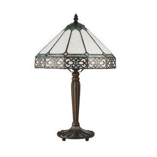witrażowa lampa stołowa subtelny wzór biel i brąz