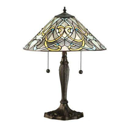 witrażowa lampa stołowa w kolorowe wstążki