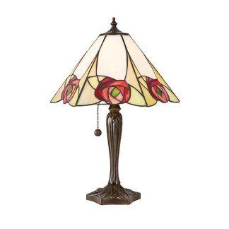 witrażowa lampa stołowa w róże