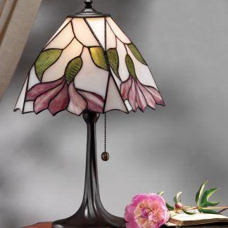 witrażowa lampa stołowa z kloszem w kwiaty