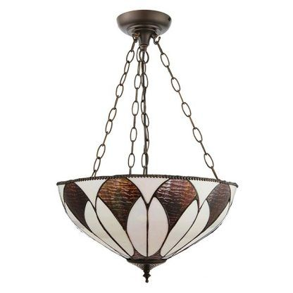 witrażowa lampa wisząca brąz beż szklana