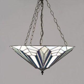 witrażowa lampa wisząca na łańcuchach duży klosz