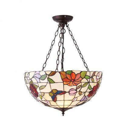 witrażowa lampa wisząca w kwiaty i motyle