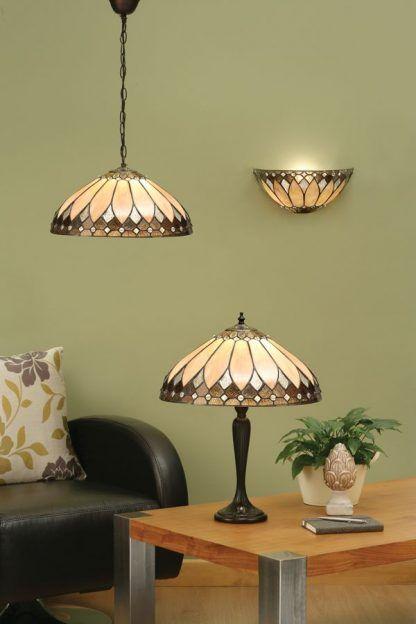 witrażowe lampy do zielonego salonu zestaw