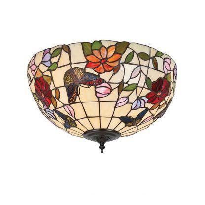witrażowy plafon w kwiaty i motyle szklany