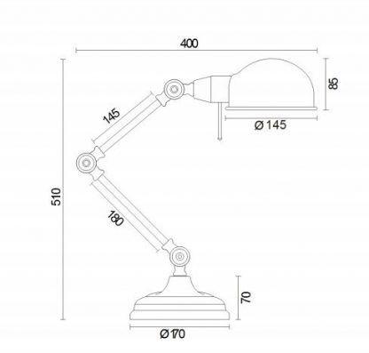 wymiary lampy biurkowej 1231