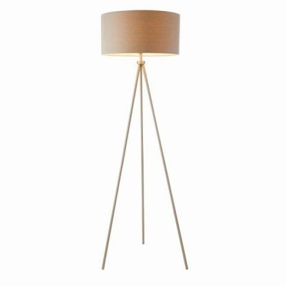 wysoka lampa podłogowa na trójnogu metalowa
