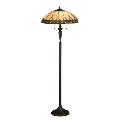 wysoka lampa podłogowa witrażowy klosz beżowy