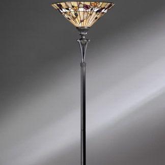 wysoka lampa podłogowa z kloszem witrażowym