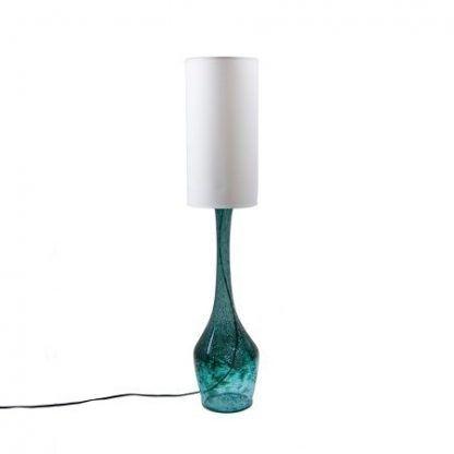 wysoka lampa stołowa z niebieskiego szkła z pęcherzykami