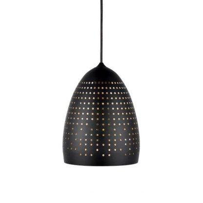zdobiona lampa wisząca czarna z kroplami jak dziurki