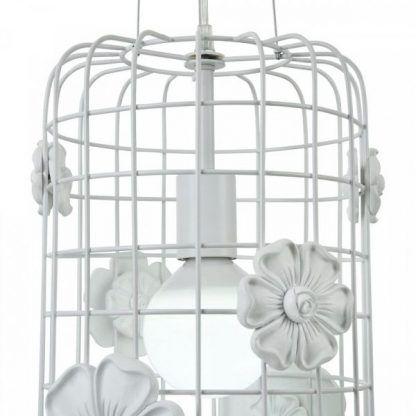 zdobiona lampa wisząca gipsowymi kwiatkami - druciak