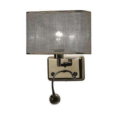 zdobiony abażur kwadratowy w kinkiecie z lampką do czytania