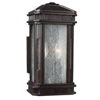 Zdobiony brązowy kinkiet ze szklanymi ściankami