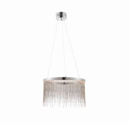 zelma okrągła lampa wisząca z łańcuszków LED