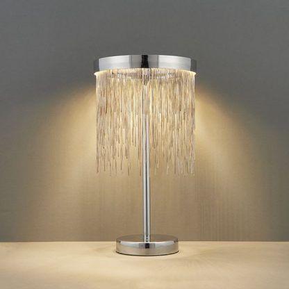 zelma srebrna lampa stołowa LED srebrne linki
