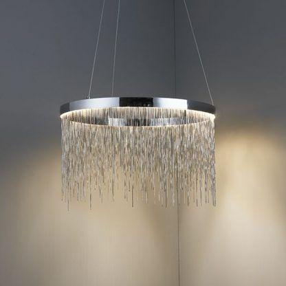 zelma srebrna lampa wisząca z drobnych łańcuszków