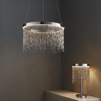 zelma zestaw srebrnych lamp LED z łańcuszków