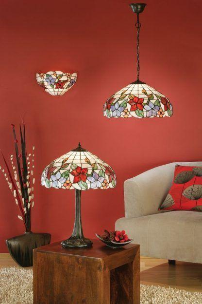 zestaw lamp witrażowych do czerwonego salonu