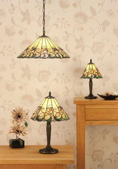 zestaw lamp witrażowych do salonu klasyczne