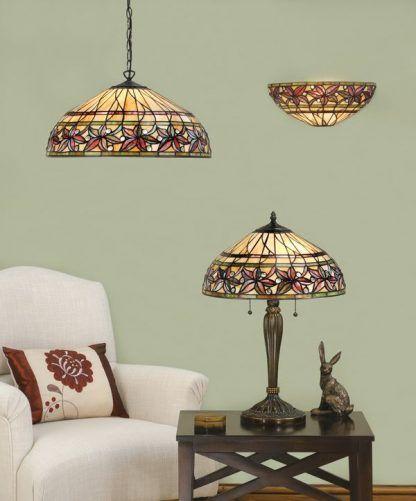 zestaw lamp witrażowych w kwiaty ciepłe kolory