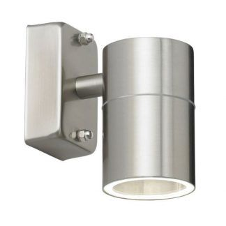 Zewnętrzny srebrny kinkiet w kształcie tuby