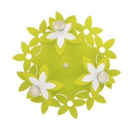 zielona lampa sufitowa dziecięca w kwiaty
