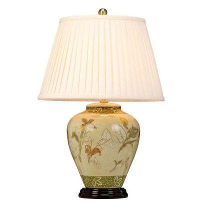 Zielono beżowa wzorzysta podstawa lampy